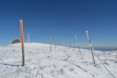 Shelter, antenna and pillars with rope Stock Photo