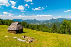 Shelter cabin hut with view to valley, Velka Fatra, Western Carpathians, Slovakia royalty free stock image