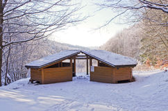 Shelter covered by snow Royalty Free Stock Images