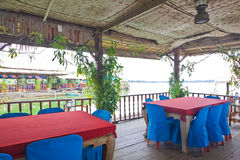 Shelter on floating restaurant Stock Photo