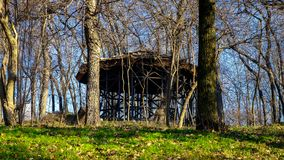 Shelter in the forest in the winter Stock Photo