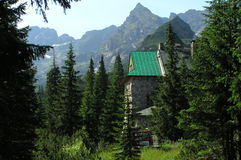 A shelter in Gasienicowa Valley in Tatra Mountains. Beautiful Mountains in the middle of Europe Stock Photography