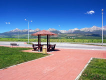 Shelter and High Tatras in summer stock photography