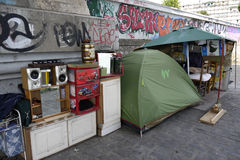 Shelter of a Homeless Person, France stock photo