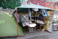 Shelter of a Homeless Person, France Royalty Free Stock Images