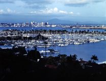 SHELTER ISLAND, SAN DIEGO. Shelter Island  with harbor and marina with San Diego downtown in background Stock Images