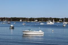 Shelter Island Travel. Boats are seen on the water in Shelter Island, NY Stock Photo