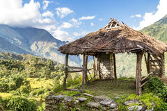 Shelter in the mountain. View from the trekking at Annapurnas circuit, Himalaya, Nepal Stock Photography