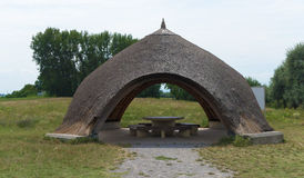 Shelter near bike way in Neusiedler see area Stock Photos