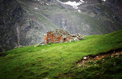 Shelter ruin on alps Royalty Free Stock Image