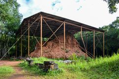 Shelter for ruined temple in vietnamese forrest royalty free stock photos