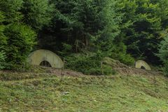 Shelter during the Second World War. In the Carpathian Mountains Stock Photography