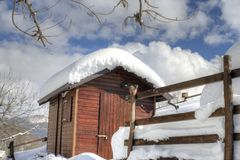 Shelter in snow-covered wood Royalty Free Stock Photo