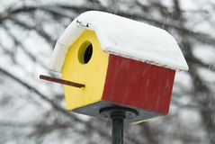 Shelter in snowstorm Stock Photo