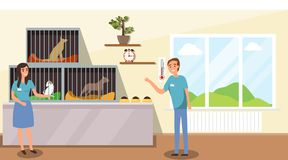 Shelter for stray dogs. A man and a woman work in a shelter for homeless animals. Cartoon illustration of an animal shelter stock illustration