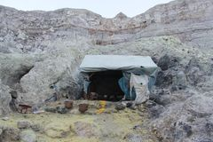 A Shelter in sulfur mine royalty free stock photo