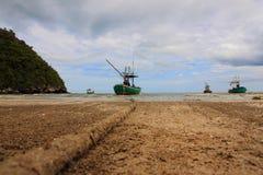Sheltered mooring on Sam Phraya Beach Royalty Free Stock Photos