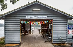 Sheltered waiting room for the Dangar Island Ferry on Dangar Island, NSW, Australia royalty free stock photography