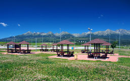 Shelters of car parking under High Tatras Stock Photo