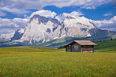 Shelters in the Italian Alps. Wooden shelters in Alpe Di Siusi, in the Italian Alps Royalty Free Stock Photos