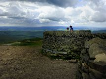 Shelters on Pen-y-ghent Stock Photography