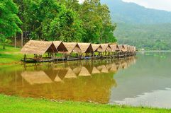 Shelters beside reservoir in Chiangmai, Thailand. Stock Photo