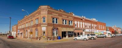 Shelton, Nébraska, petit townfront de brique rouge - Main Street Etats-Unis photos stock