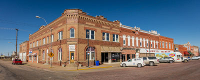 Shelton, Nebraska, red brick small townfront - Main Street USA Stock Photos