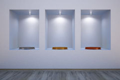 Shelves. In the wall with empty pedestals Royalty Free Stock Photo