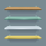 Shelves. Set of shelves in five different materials - plastic, wood Stock Photo