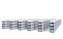 Shelves x 60. Top Perspective view, Shadows. Part of a Blue Warehouse and logistics series Royalty Free Stock Photo