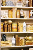 Shelves with antiquarian items, vertical Stock Photo