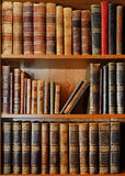 Shelves with antique books in library Royalty Free Stock Photo