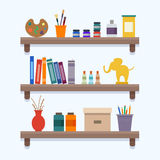 Shelves with art equipment. And tools. Flat style vector illustration Stock Image