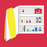 Shelves in bathroom, personal hygiene supplies. And medicine chest Stock Photography