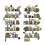 Shelves with beer icons, sketch for your design Stock Images