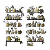 Shelves with beer icons, sketch for your design Royalty Free Stock Photography
