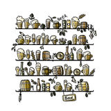 Shelves with beer, sketch for your design Royalty Free Stock Photo