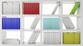 Shelves with books. Shiny white wooden shelves with books in color Stock Photography