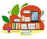 Shelves with books on an abstract background with leaves, pencils and a gadget in the style of flat. Vector vector illustration