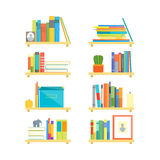 Shelves with Books and Different Things Set. Vector Royalty Free Stock Images