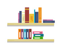 Shelves with Books and Folders. Shelves with colored books and folders in row. Colored folders with documents on shelves. Books in row. Furniture element for Stock Images