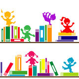 Shelves with books and kids playing Stock Image