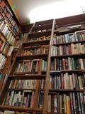 Shelves of Books in a Library. A rolling ladder waits to be used to get the out of reach book for the reader as the books wait on the floor to ceiling shelves Royalty Free Stock Photos