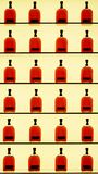 Shelves of Bourbon Whiskey on display. 24 bottles of whiskey on display with back light. Ready for sale and consumption stock images