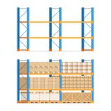 Shelves with boxes and empty. Warehouse shelves with boxesand empty shelves. Racks, pallets and boxes. Vector stock illustration in flat style isolated on white stock illustration