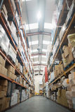 Shelves with boxes in warehouse Royalty Free Stock Photos