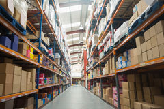 Shelves with boxes in warehouse Stock Images
