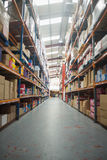 Shelves with boxes in warehouse Royalty Free Stock Images