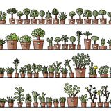 Shelves with cactus in pots, seamless pattern Stock Images